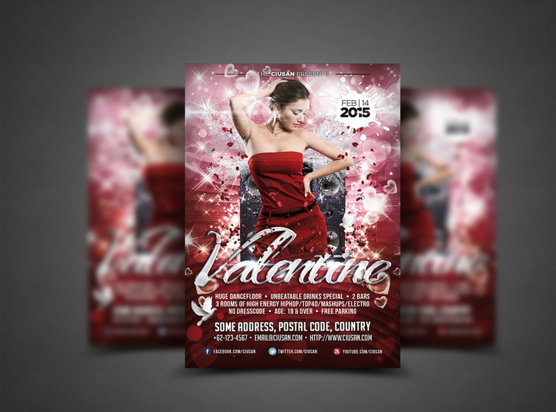 Valentine Flyer Template gift flyer feeling february event element discount design decoration day club celebration card brochure beautiful banner background advertising 14