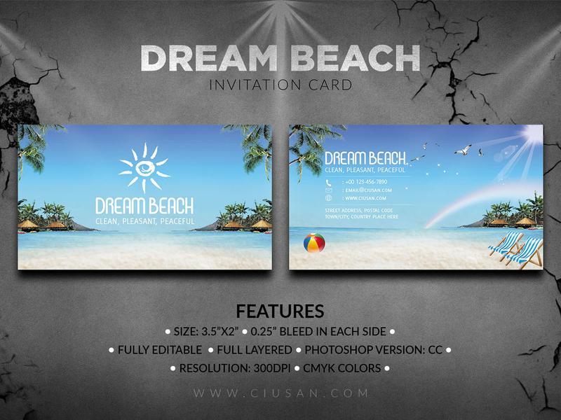 Dream Beach Invitations Card invitation illustration holiday happy graphic fashion exotic dream design decoration concept celebration card beautiful beach banner background art abstract