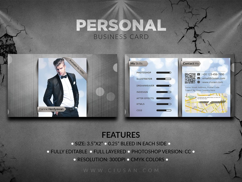 Personal Business Card graphic flat elements elegant design creative corporate contact company communication color clean card business brand black background address abstract