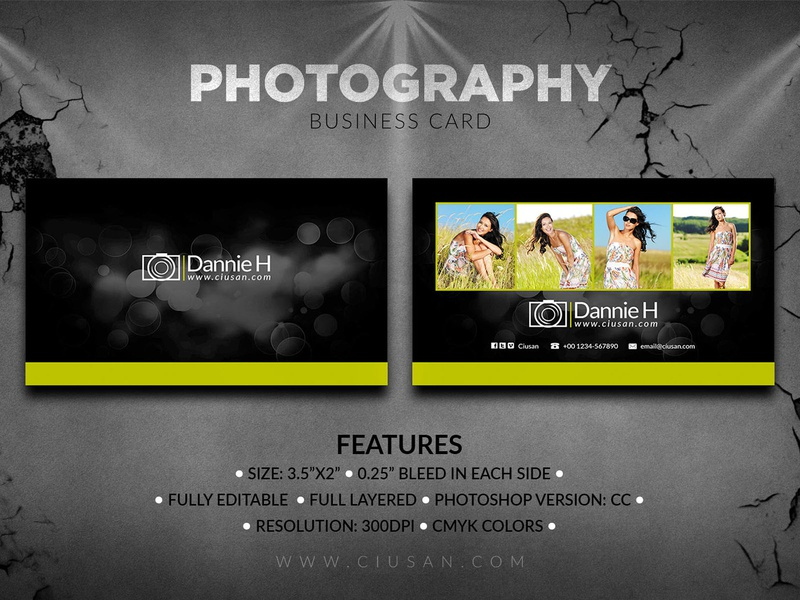Photography Business Card graphic element digital design decoration creative copy concept company card camera business blank black banner background art advertise abstract