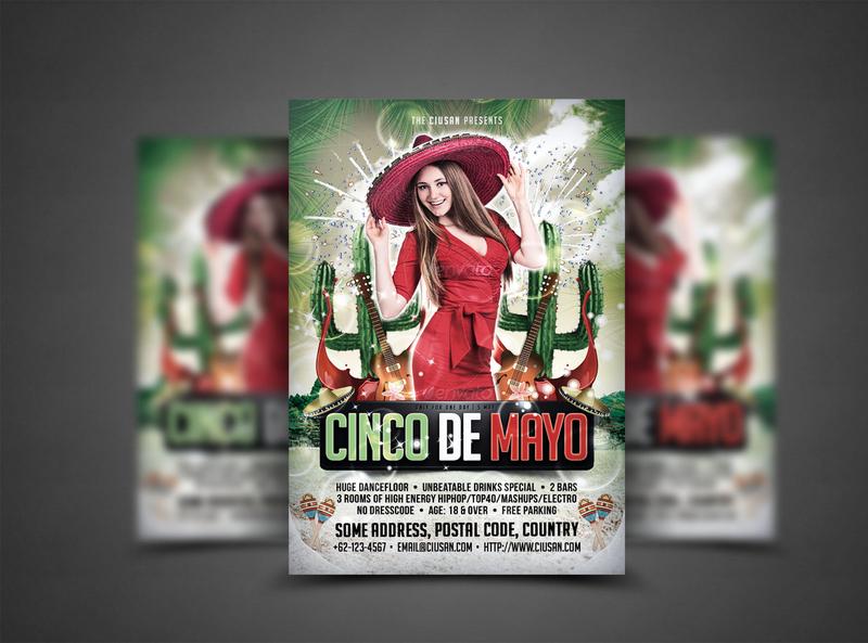 Cinco de Mayo Flyer Template fiesta festive festival feliz entertainment design decoration de culture colorful cinco celebration carnival card cactus banner background america 5th