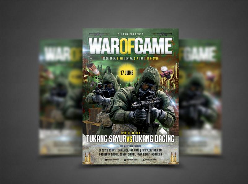 War of Game Flyer Template fatherland element design defense day country celebration cartoon card bit battle banner background artillery art army armored 8bit 23