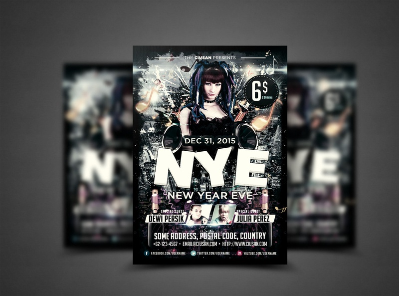 New Year Eve Flyer Template eve design decoration december dance creative cover confetti christmas celebration celebrate card brochure banner ball background abstract 2020 2019