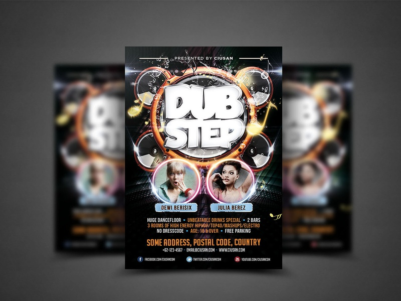 Dubstep Flyer Template event entertainment electro dubstep dj digital design data dance cyber connection concert communication banner background audio art anonymous abstract