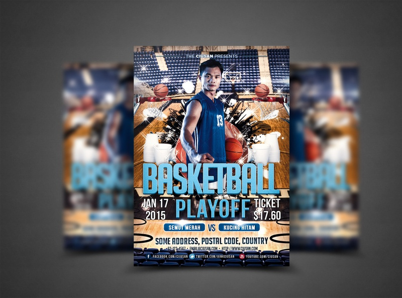 Basketball Playoff Flyer Template court concept competition club championship champion card basketball tournament basketball ball basketball basket banner ball background art announcement advertising activity 3d