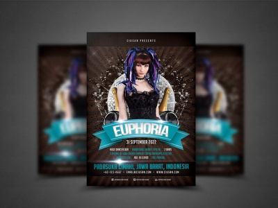 Euphoria Flyer Template electronic effect dj disco digital design decoration dark cover concert concept club celebration card banner background abstract 3d