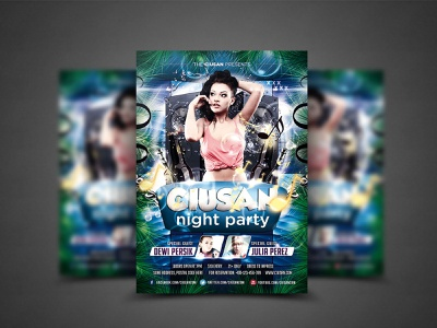 Ciusan Night Party Flyer Template disco design dance creative cover cool concert clubbing club celebration card brochure bright blue banner background backdrop advertising abstract