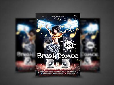 Breakdance Flyer Template flyer festival element disco design dance creative cover concert brochure breakdance box boombox boom battle banner background art abstract