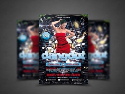 Dangdut Flyer Template element disco design decoration dance cover concert concept colorful color club card brochure bright banner background art advertising abstract