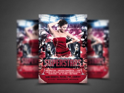 Superstars Flyer Template interview individuality illustration human harmony graphic got talent fun flyer famous equipment entertainment emcee element design contest celebrity banner background