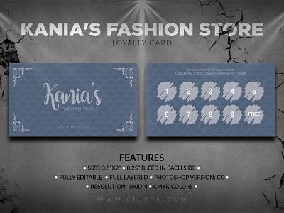 Kania s Fashion Store Loyalty Card female fashion discount design debit card customer credit card credit consumerism consumer concept cashless card buy business bonus beauty bag background