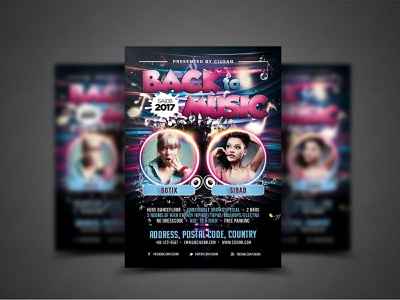 Back to Music Flyer Template decoration dance creative cover corporate concept colorful club card business brochure booklet black banner background back art abstract 80s