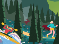 back to nature styletest vector style retro characters people