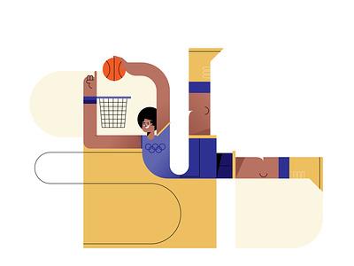 BBall 2021 tokyo illustration vector dunk basketball sport olympics