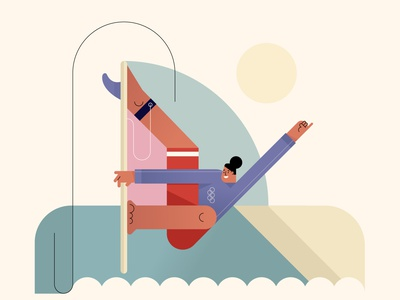 surfing illustration vector style retro characters people olympic games tokyo olympics