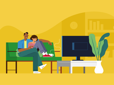 movie night vector style retro characters people
