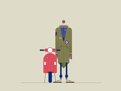 quad vespa mod illustration styletest vector style retro characters people