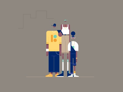 the crew illustration design website styletest vector style retro characters people