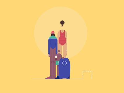 Beach illustration design website styletest vector style retro characters people
