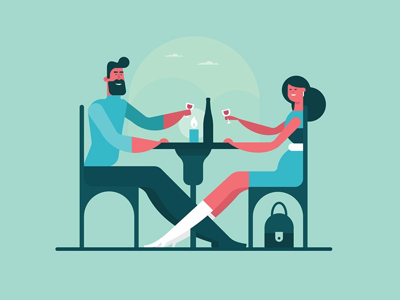 Couple night date character romantic diner couple