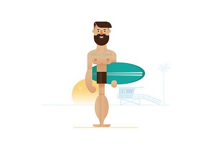 Surfer millennial hipster dude beach venice surf surfing