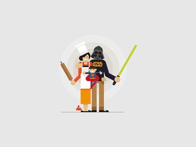 family portrait darthvader food chef superman lightsabre wars star portrait family