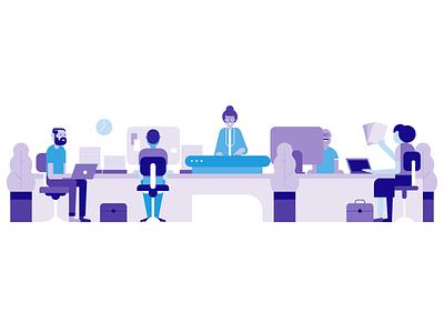 office retro style styletest website ui ux hr workforce office people characters