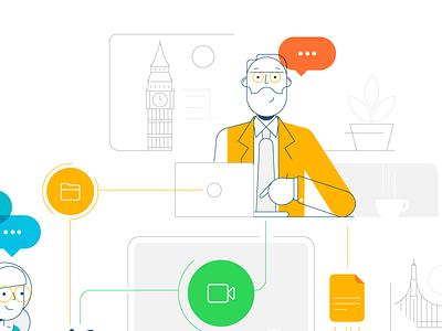 Cisco retro style styletest website ui ux hr workforce office people characters