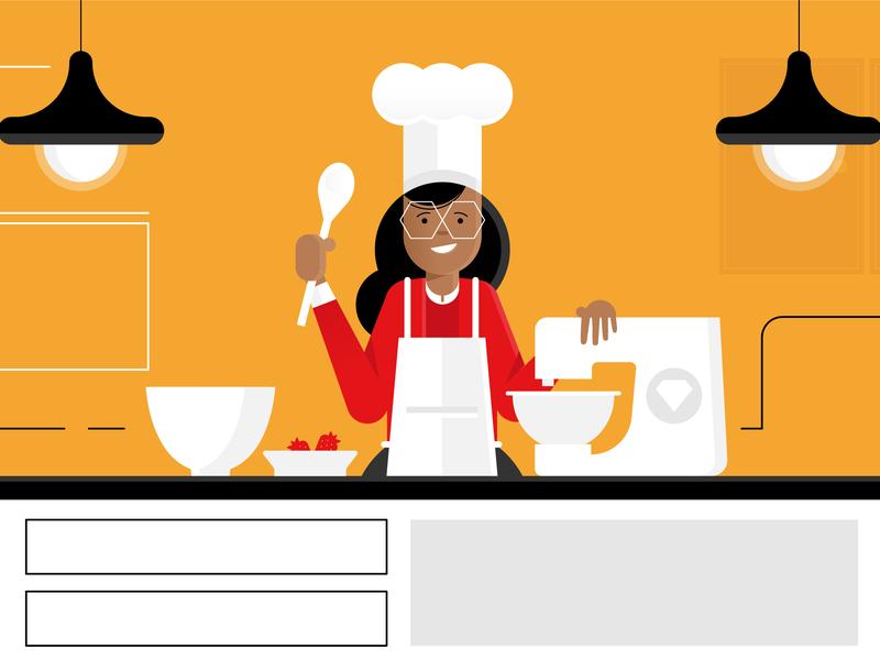 sneak peak baking kitchen character vector ux style retro characters people