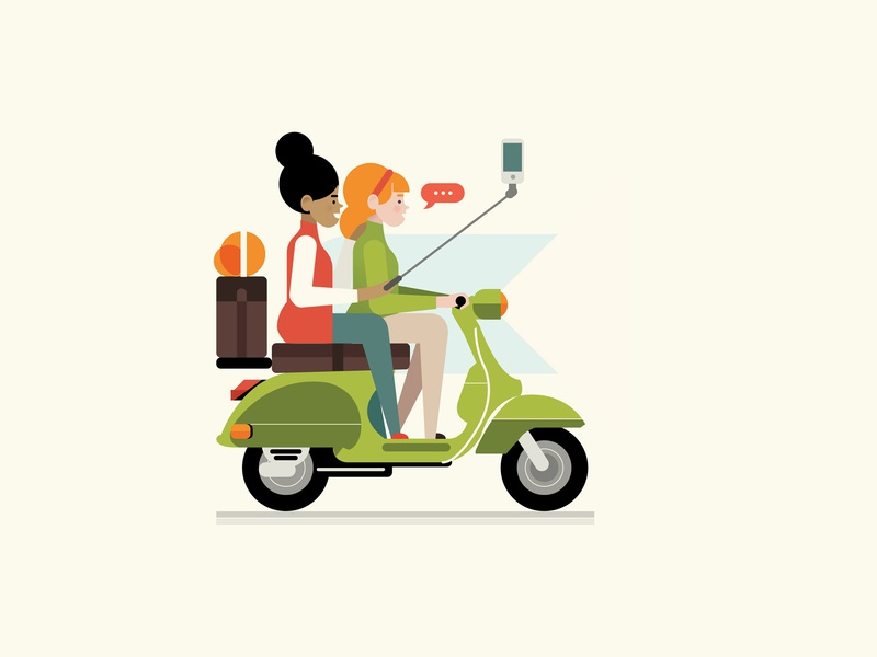 vespa illustration styletest vector style retro characters people