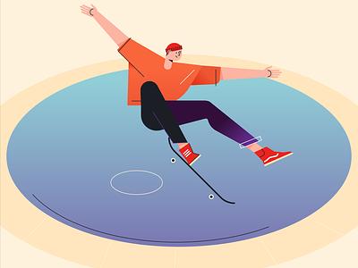 park series vector illustration skating character pool shoes vans skateboard skate