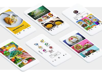 Fresh Food App mobile responsive camera scan icons illustration fresh food app colorful ux ui