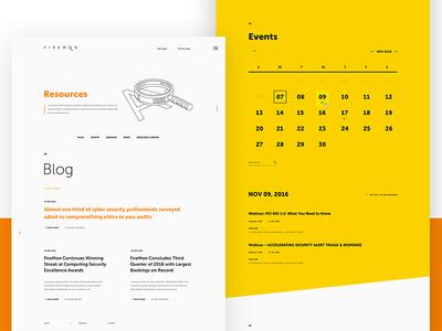 Firemon dates news events interaction colors light blog calendar website ui
