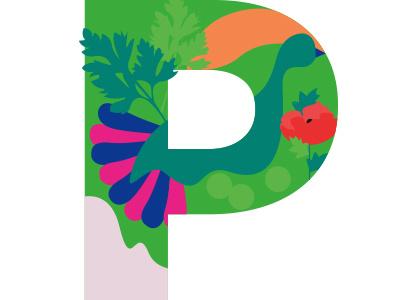 P illustration children book alphabet letter