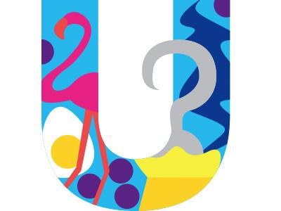 U illustration children book alphabet letter