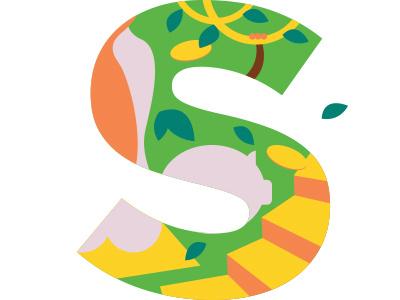 S name grammar letter illustration alphabet children lab alpha book