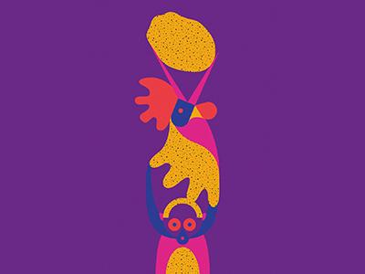 Totem sketch totem potatoes monkey cock tale caracter color flat illustration