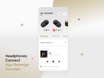 Headphones Connect - App Redesign Concept ui mobile apps intercation concept headphones sony uidesign mobile app clean ui  ux uiux music player ui music player equalizer app mobile app design sound wf