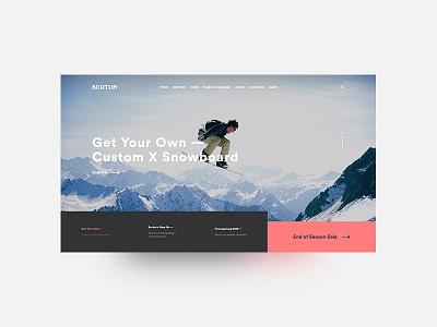 Landing Page — #dailyui 003 snowboard winter burton website concept landing page clean dailyui desktop ui