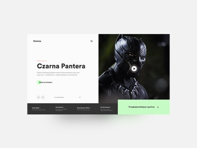 Cinema Landing Page — website desktop black panther movie cinema concept ui clean