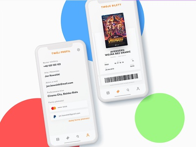 Cinema Time — Your Tickets & User Profile tickets profile marvel movie cinema app mobile ui clean