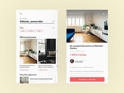 Real estate concept — app search home house apartment real estate mobile ui mobile design