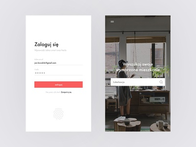 Log in & Landing Screen — Real estate concept app log in landing screen mobile design ui mobile real estate apartment house home search