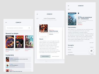 browse, read and buy comics — app shop dc marvel comics book clean ui design mobile