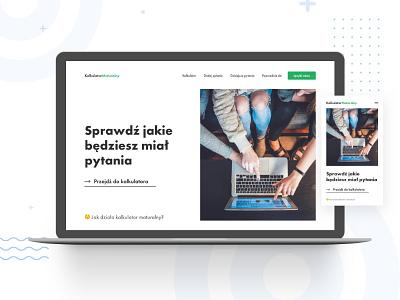 Kalkulator Maturalny Concept — website + mobile ux ui design desktop web clean