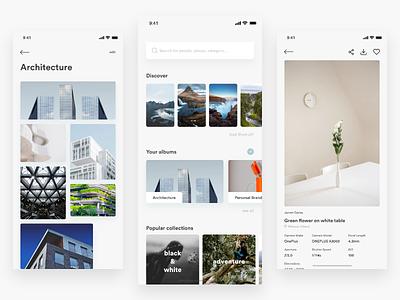 Unsplash ― Concept App clean stock discover album photo unsplash ui design mobile