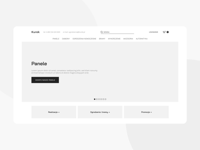 Kurek ➞ e-commerce website wireframe wireframe website concept desktop website ui