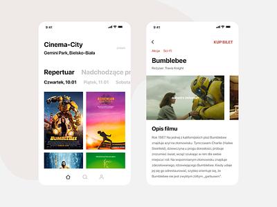 Weekly Design #1 — Cinema App ui movies mobile design concept clean cinema app