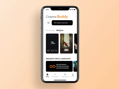 Cinema Buddy - Your Tickets & Cards ui ux tickets movie theather theather motion modern mobile app minimal maise movie film cinema cards app animation