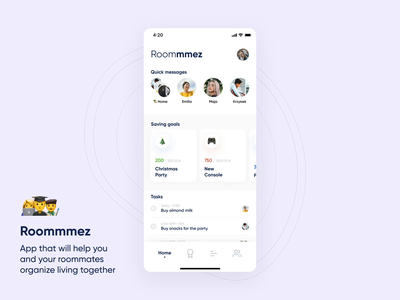 Roommmez - for you and your roommates crypto tasks todo goals savings roommates ux interaction animation clean ui design concept app clean mobile ui